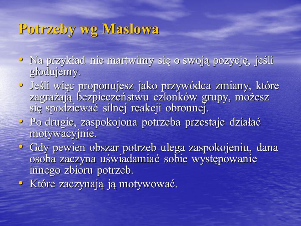 Potrzeby wg Maslowa Na przykład nie martwimy się o swoją pozycję, jeśli głodujemy.
