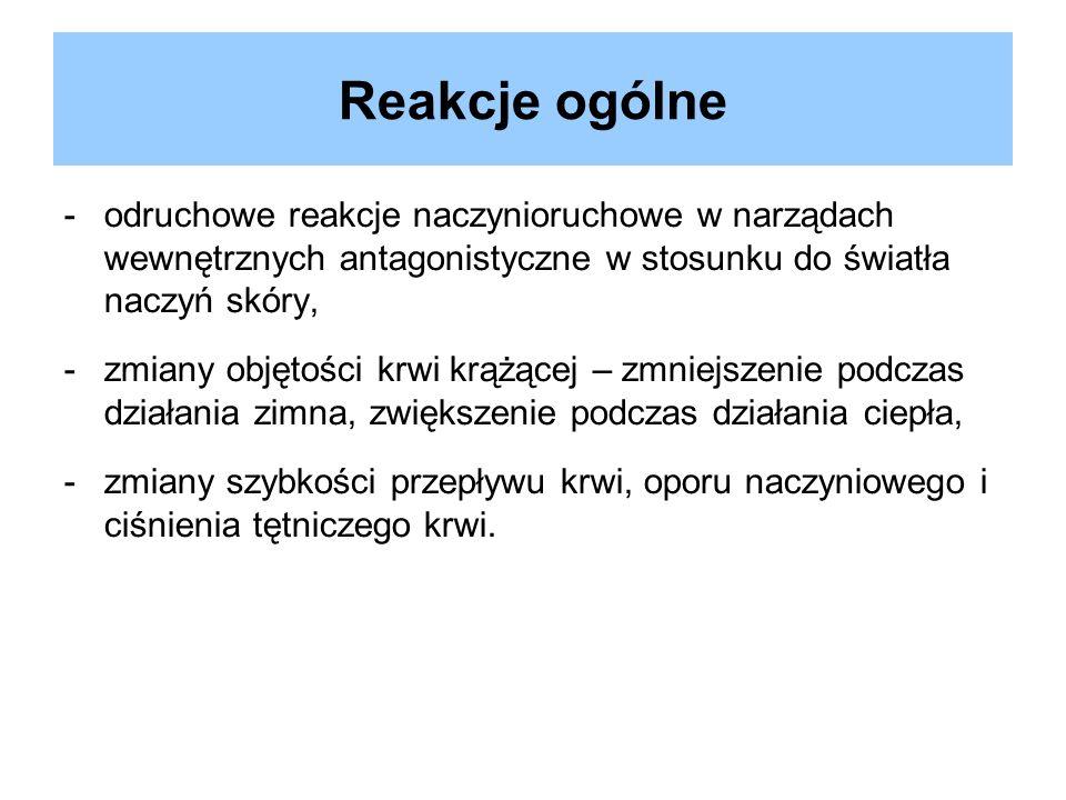 Reakcje ogólne odruchowe reakcje naczynioruchowe w narządach wewnętrznych antagonistyczne w stosunku do światła naczyń skóry,