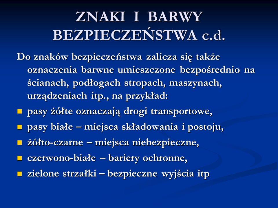 ZNAKI I BARWY BEZPIECZEŃSTWA c.d.
