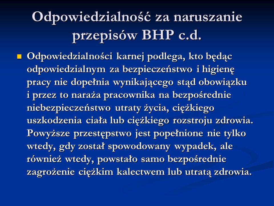 Odpowiedzialność za naruszanie przepisów BHP c.d.