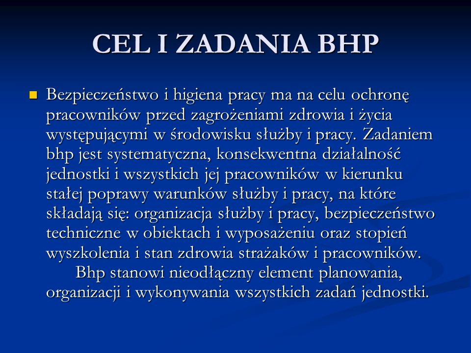 CEL I ZADANIA BHP