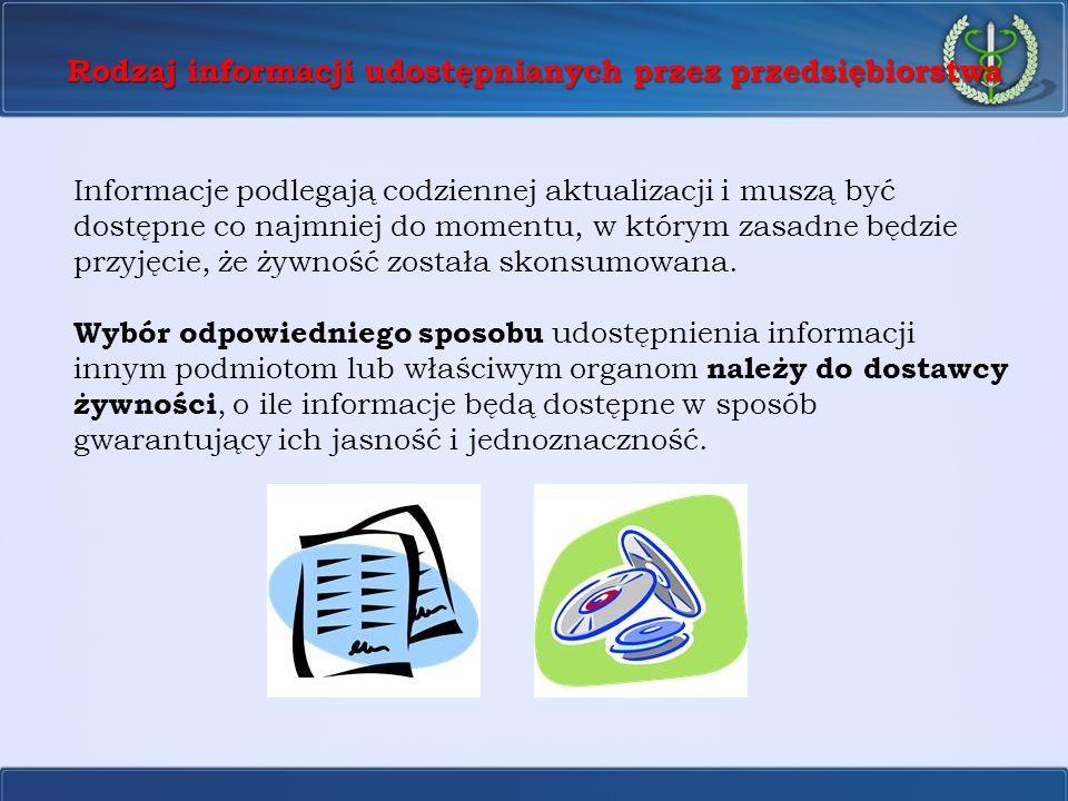 Rodzaj informacji udostępnianych przez przedsiębiorstwa