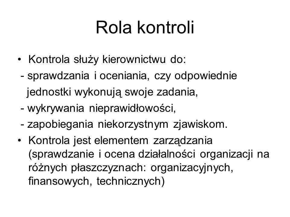 Rola kontroli Kontrola służy kierownictwu do: