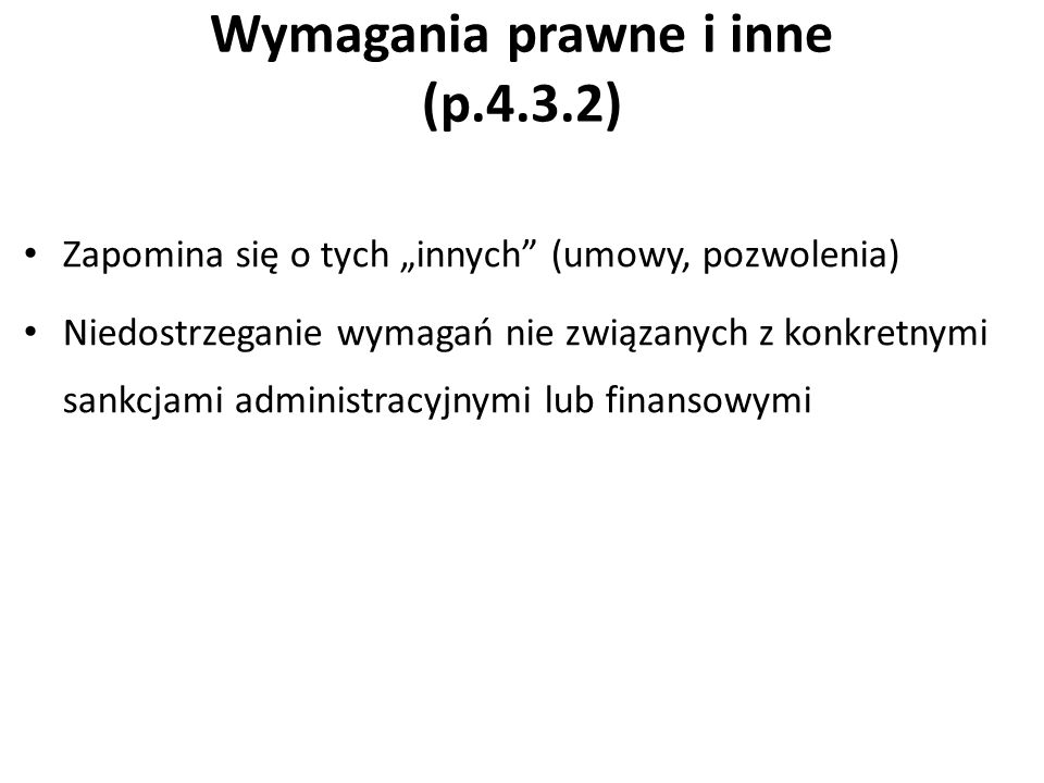 Wymagania prawne i inne (p.4.3.2)