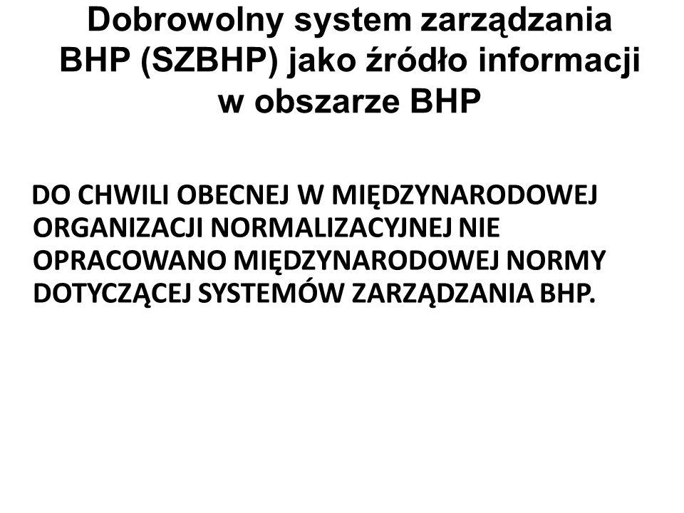 Dobrowolny system zarządzania BHP (SZBHP) jako źródło informacji w obszarze BHP