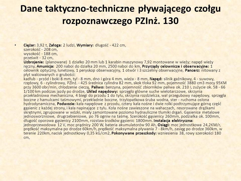 Dane taktyczno-techniczne pływającego czołgu rozpoznawczego PZInż. 130
