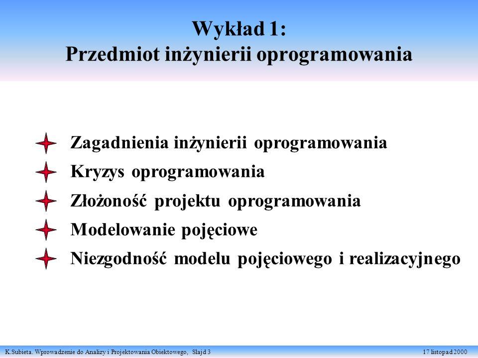 Wykład 1: Przedmiot inżynierii oprogramowania
