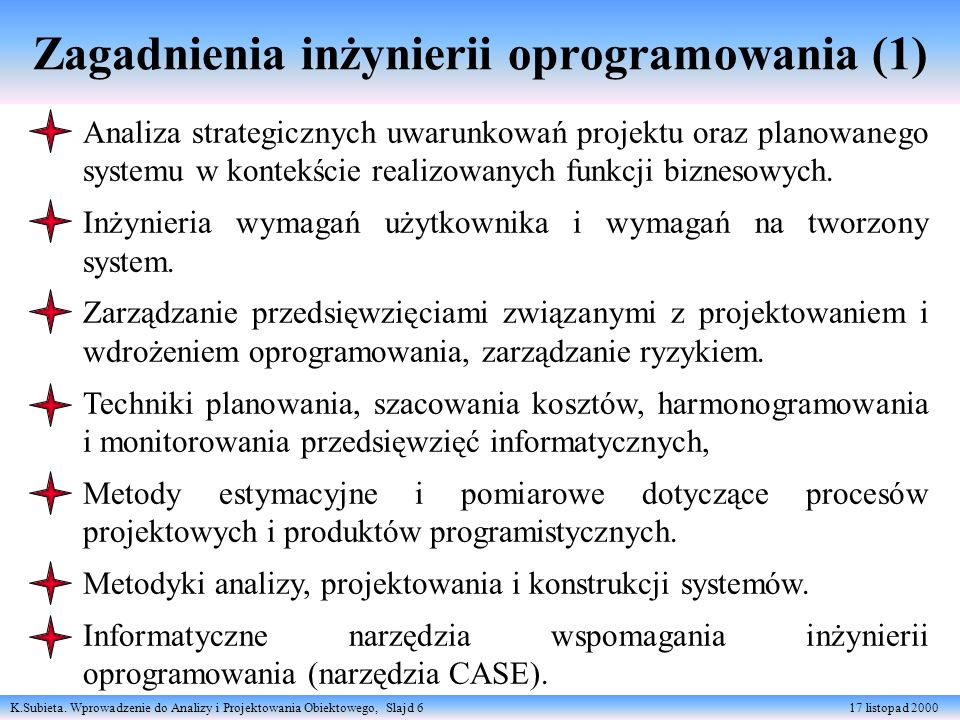 Zagadnienia inżynierii oprogramowania (1)