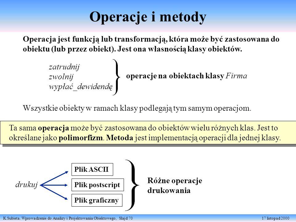 Operacje i metody Operacja jest funkcją lub transformacją, która może być zastosowana do.