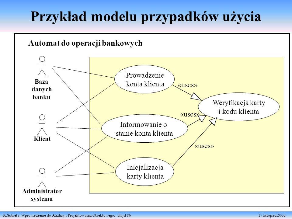 Przykład modelu przypadków użycia