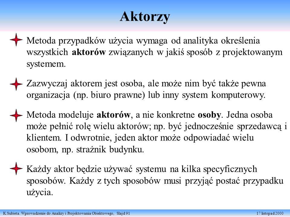 Aktorzy Metoda przypadków użycia wymaga od analityka określenia wszystkich aktorów związanych w jakiś sposób z projektowanym systemem.