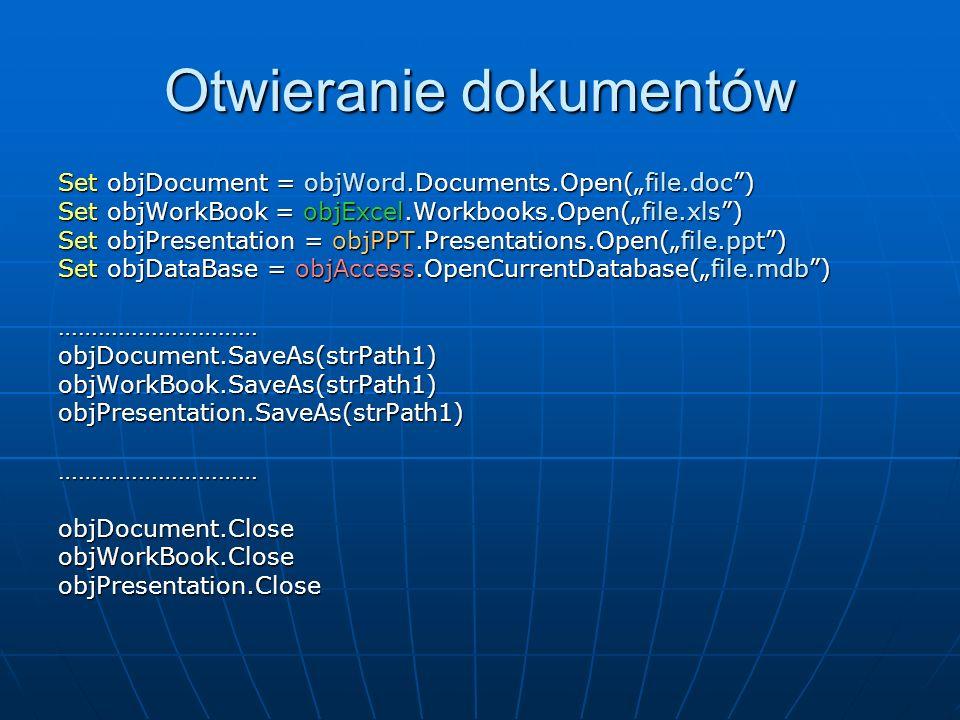 Otwieranie dokumentów