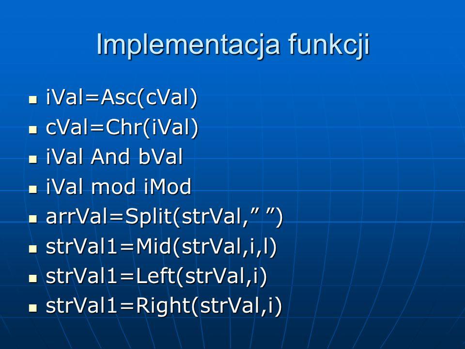 Implementacja funkcji
