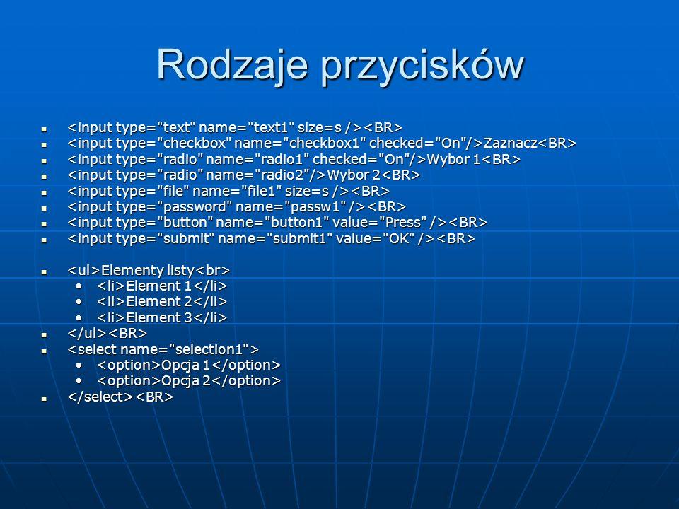 Rodzaje przycisków <input type= text name= text1 size=s /><BR> <input type= checkbox name= checkbox1 checked= On />Zaznacz<BR>