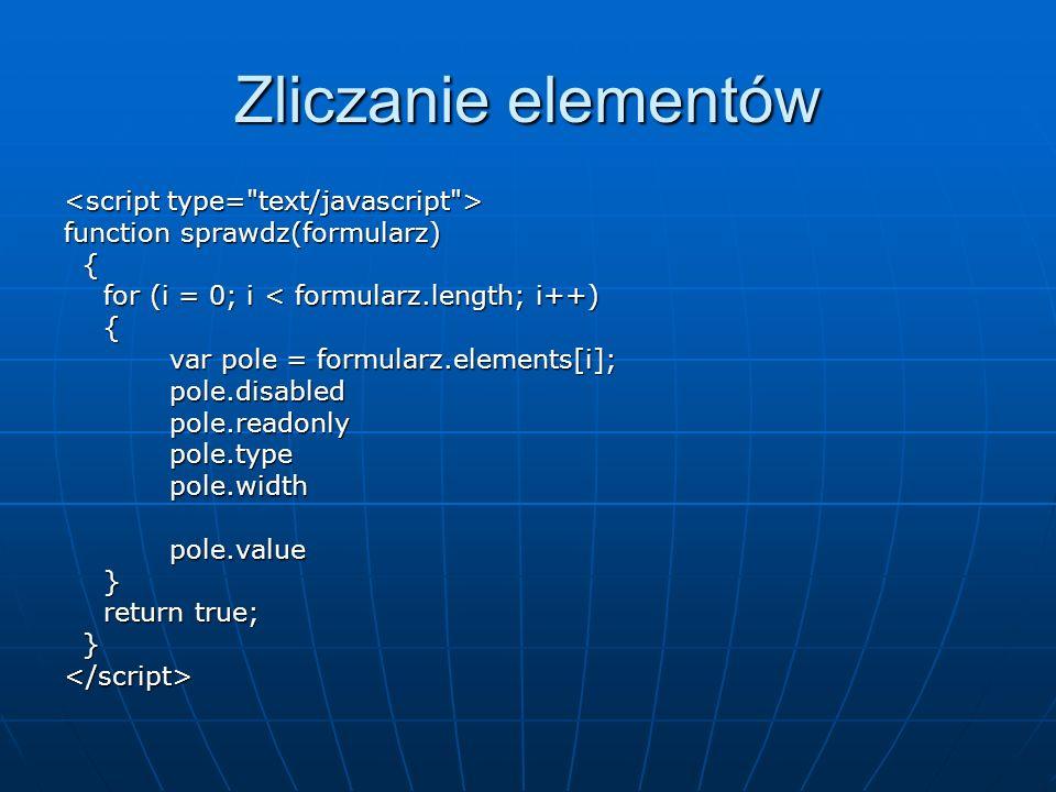 Zliczanie elementów <script type= text/javascript >