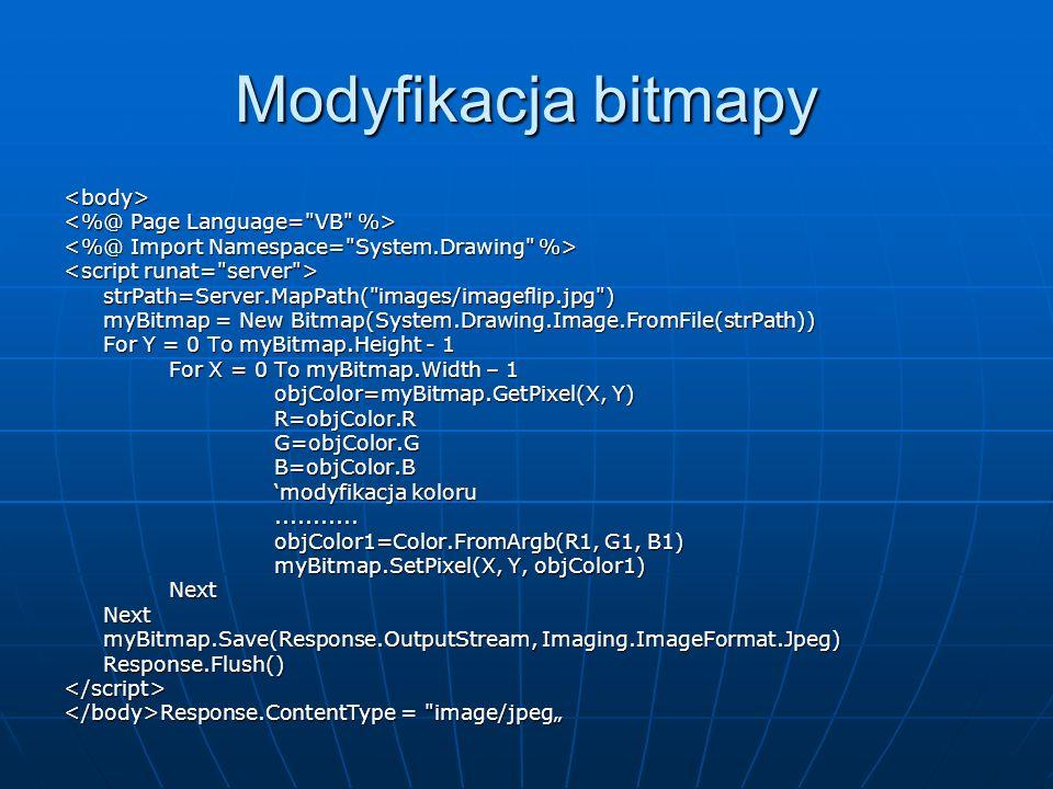 Modyfikacja bitmapy <body> <%@ Page Language= VB %>