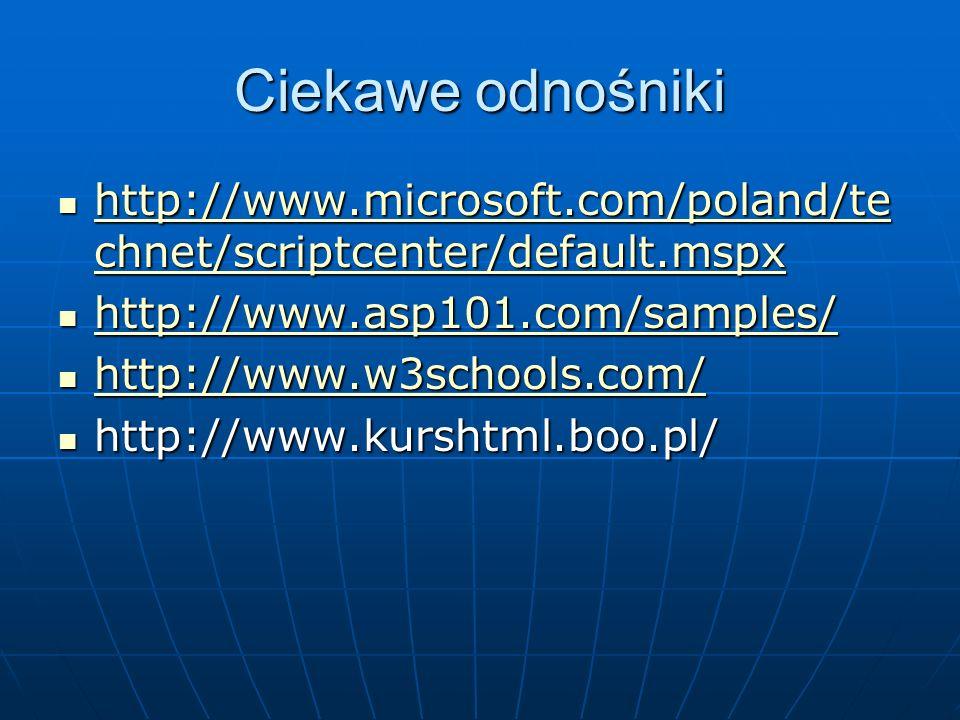 Ciekawe odnośniki http://www.microsoft.com/poland/technet/scriptcenter/default.mspx. http://www.asp101.com/samples/