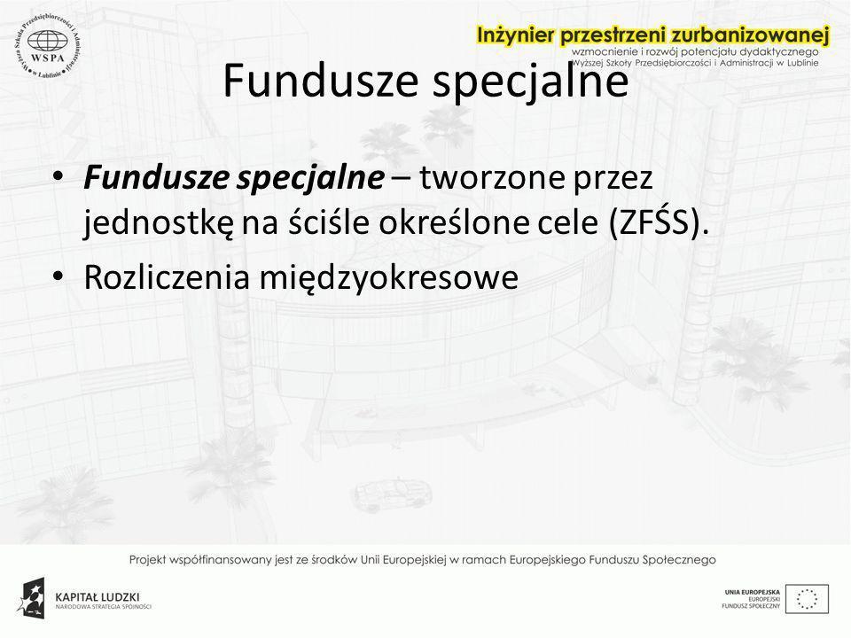 Fundusze specjalneFundusze specjalne – tworzone przez jednostkę na ściśle określone cele (ZFŚS).