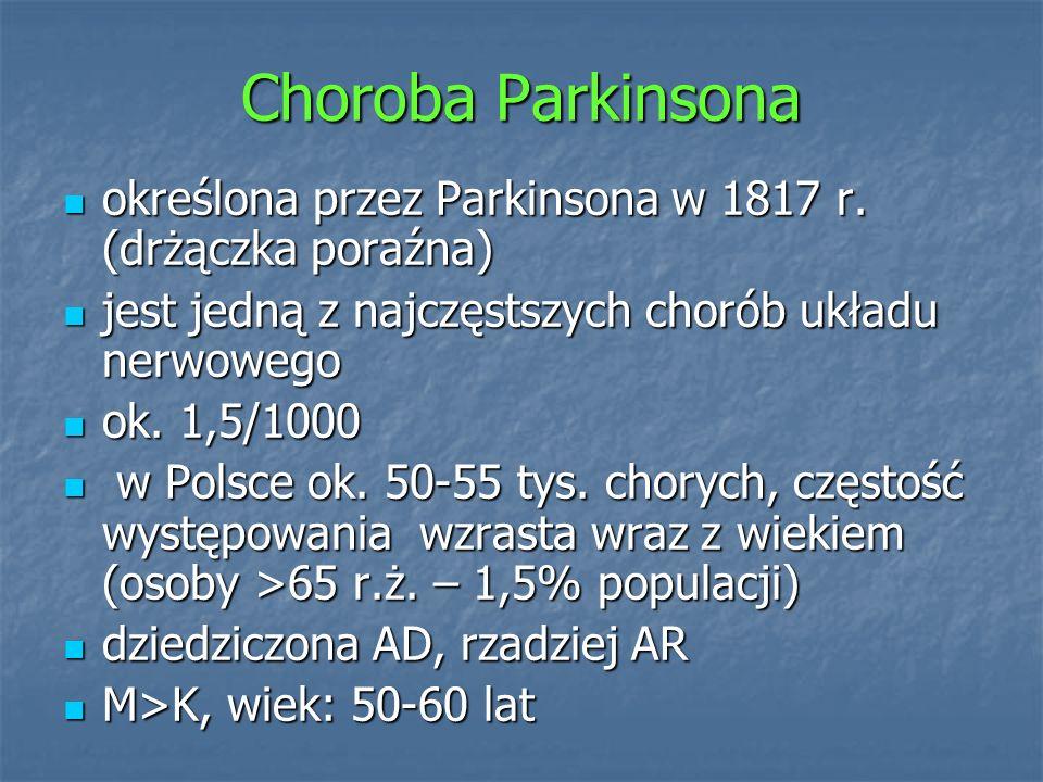 Choroba Parkinsonaokreślona przez Parkinsona w 1817 r. (drżączka poraźna) jest jedną z najczęstszych chorób układu nerwowego.