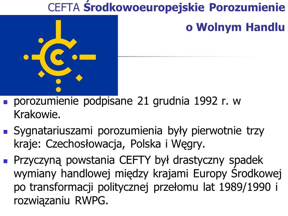 CEFTA Środkowoeuropejskie Porozumienie o Wolnym Handlu