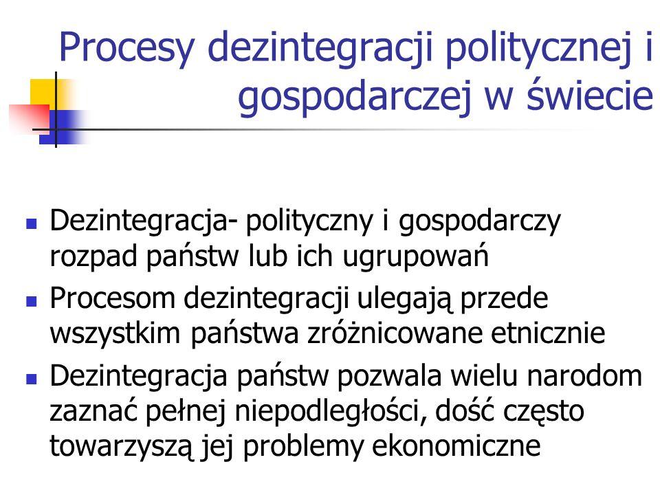 Procesy dezintegracji politycznej i gospodarczej w świecie