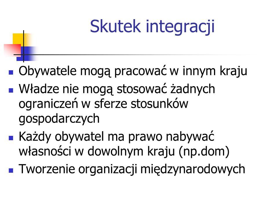 Skutek integracji Obywatele mogą pracować w innym kraju