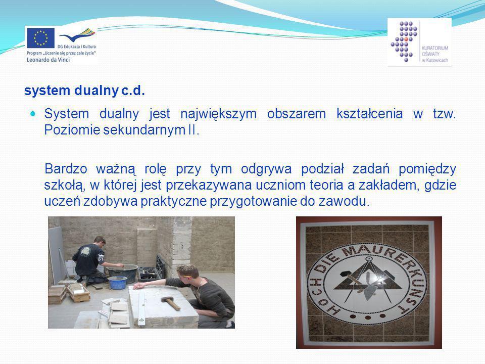 system dualny c.d. System dualny jest największym obszarem kształcenia w tzw. Poziomie sekundarnym II.