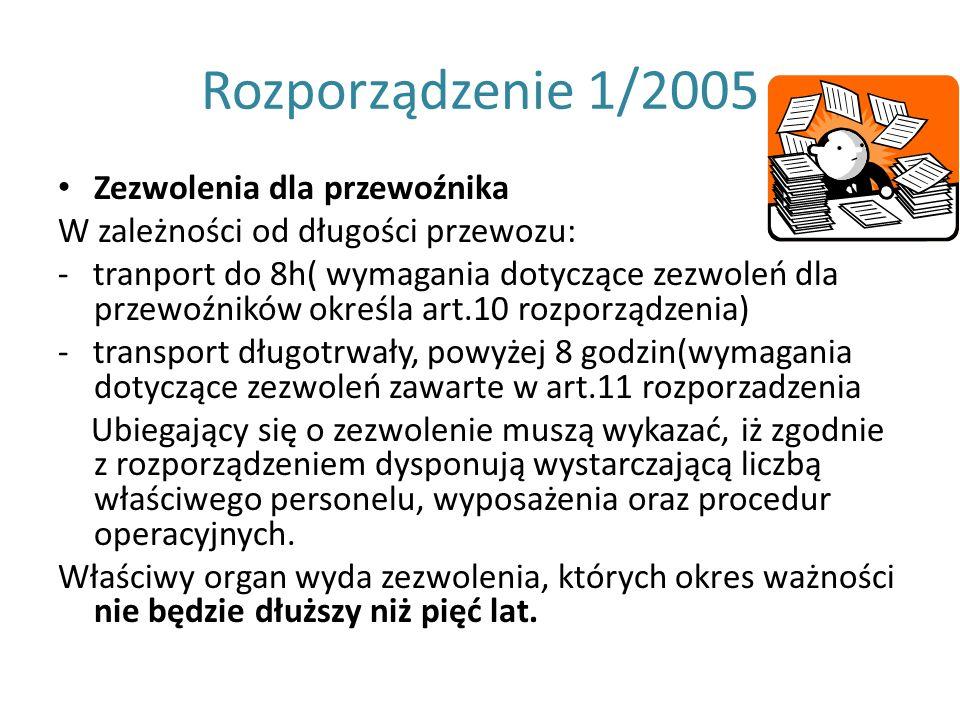 Rozporządzenie 1/2005 Zezwolenia dla przewoźnika