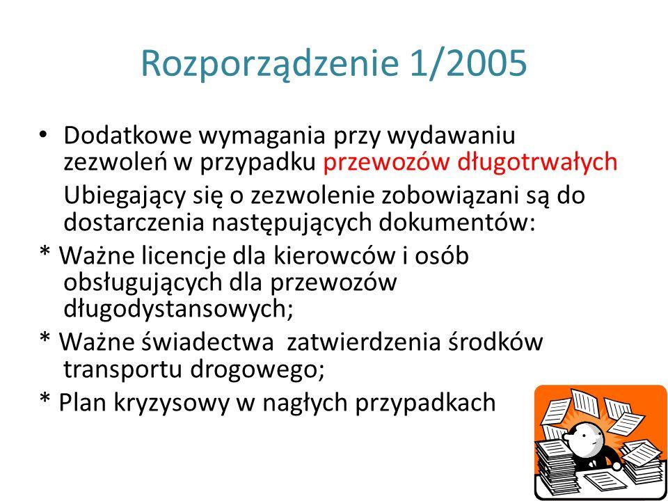 Rozporządzenie 1/2005 Dodatkowe wymagania przy wydawaniu zezwoleń w przypadku przewozów długotrwałych.