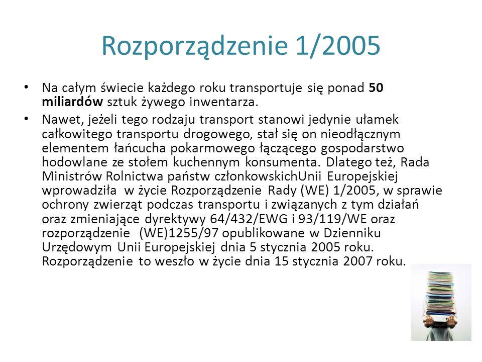 Rozporządzenie 1/2005 Na całym świecie każdego roku transportuje się ponad 50 miliardów sztuk żywego inwentarza.