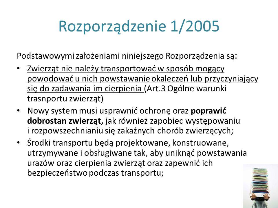 Rozporządzenie 1/2005 Podstawowymi założeniami niniejszego Rozporządzenia są: