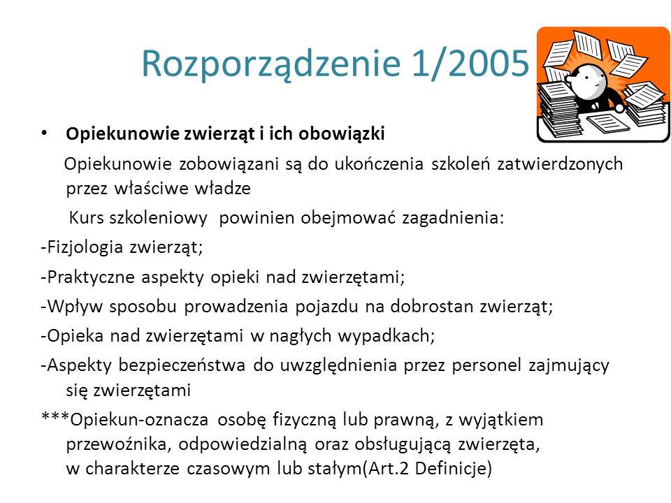 Rozporządzenie 1/2005 Opiekunowie zwierząt i ich obowiązki