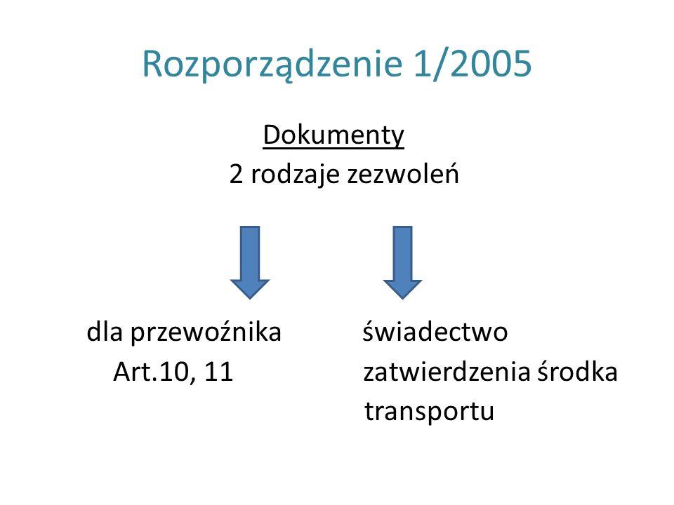 Rozporządzenie 1/2005 Dokumenty 2 rodzaje zezwoleń dla przewoźnika świadectwo Art.10, 11 zatwierdzenia środka transportu