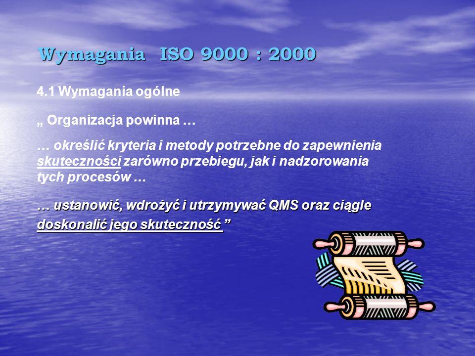 """Wymagania ISO 9000 : 2000 4.1 Wymagania ogólne """" Organizacja powinna …"""