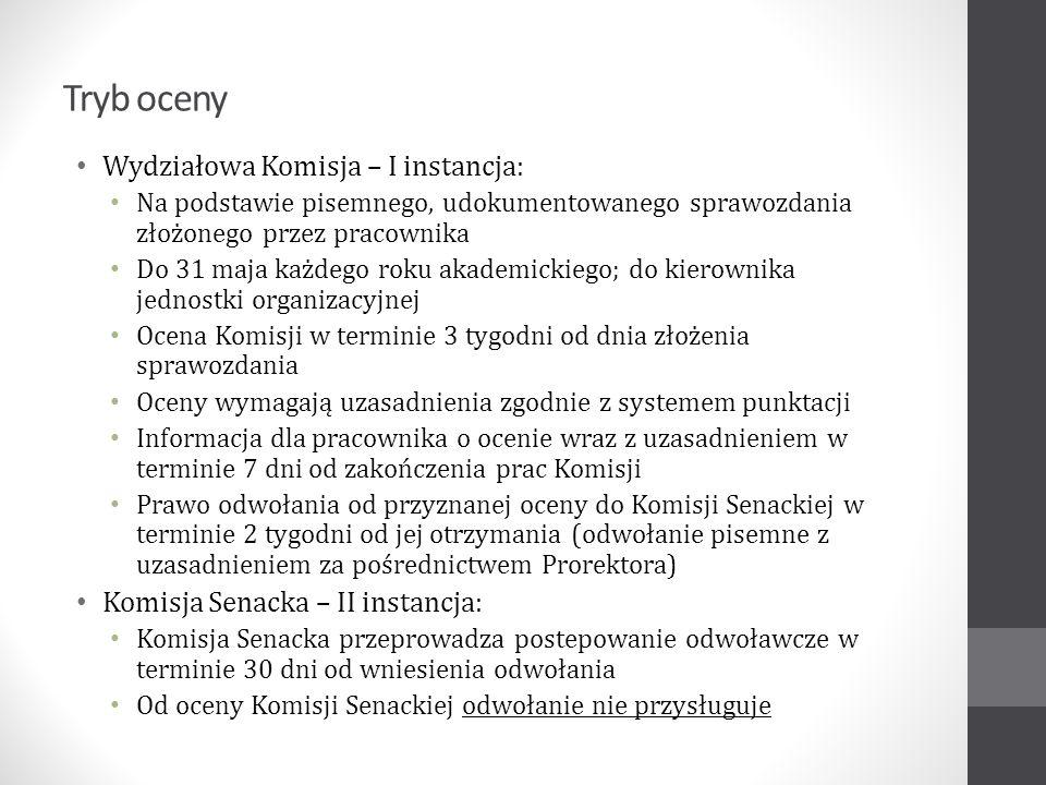 Tryb oceny Wydziałowa Komisja – I instancja: