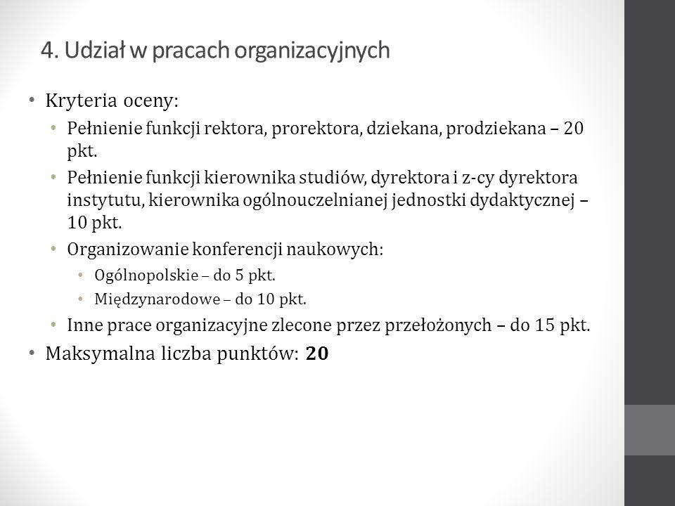 4. Udział w pracach organizacyjnych