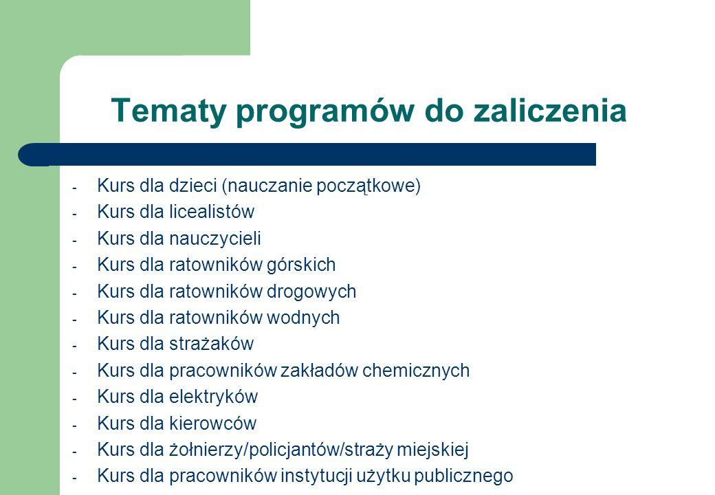 Tematy programów do zaliczenia