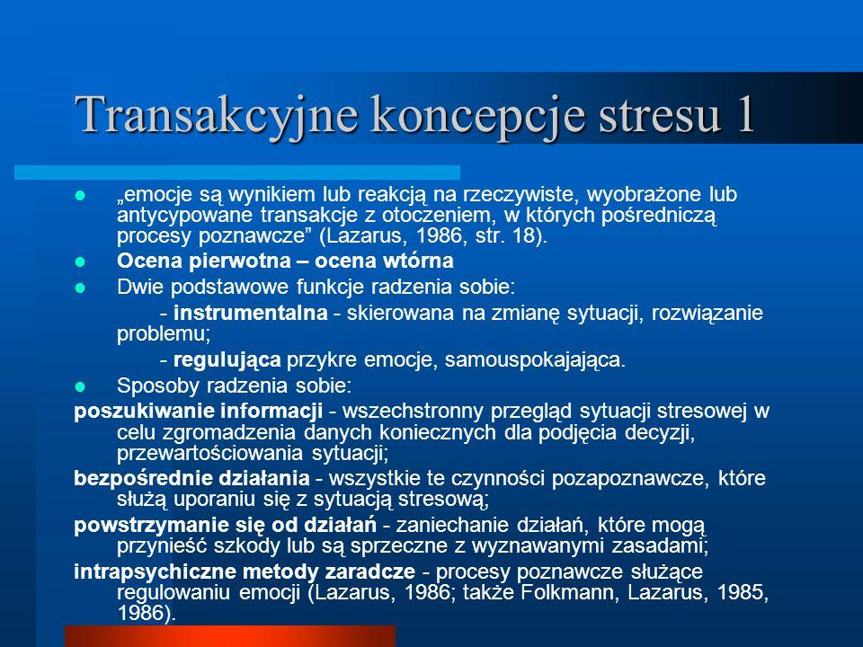 Transakcyjne koncepcje stresu 1