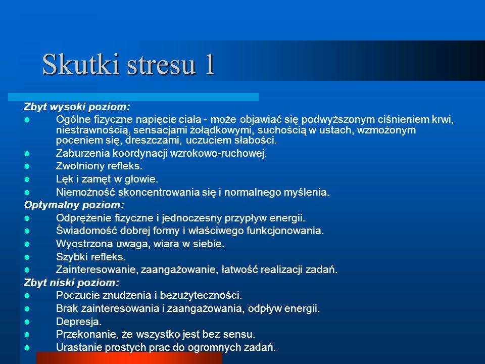 Skutki stresu 1 Zbyt wysoki poziom: