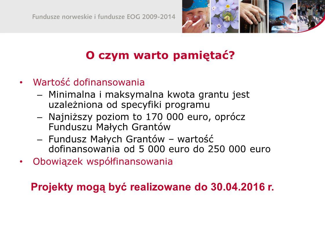 Projekty mogą być realizowane do 30.04.2016 r.