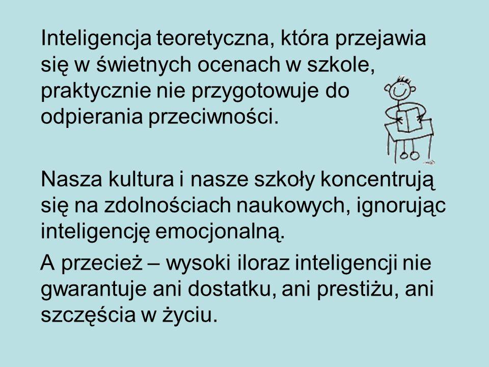 Inteligencja teoretyczna, która przejawia się w świetnych ocenach w szkole, praktycznie nie przygotowuje do odpierania przeciwności.
