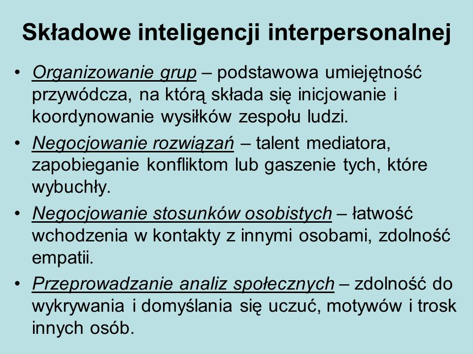 Składowe inteligencji interpersonalnej