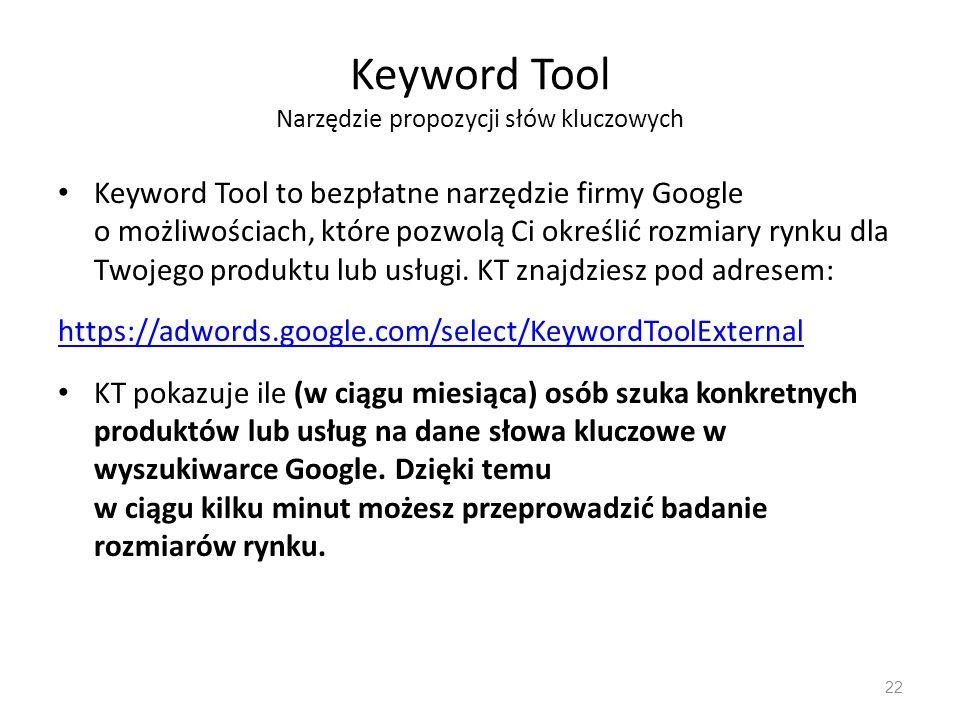 Keyword Tool Narzędzie propozycji słów kluczowych