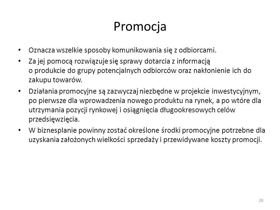 Promocja Oznacza wszelkie sposoby komunikowania się z odbiorcami.