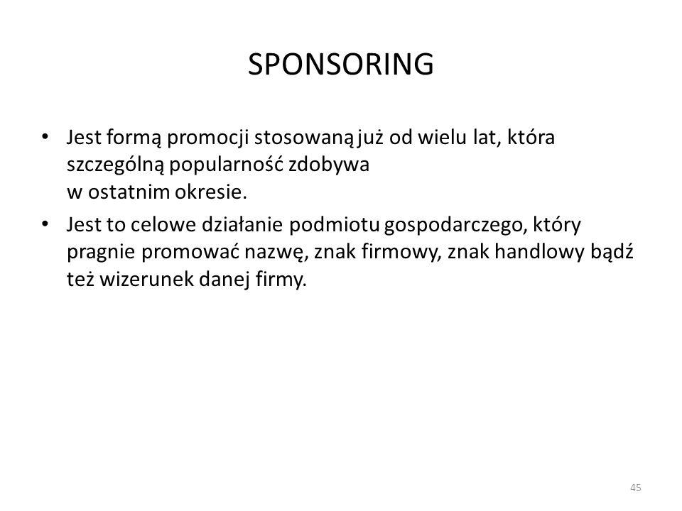 SPONSORINGJest formą promocji stosowaną już od wielu lat, która szczególną popularność zdobywa w ostatnim okresie.