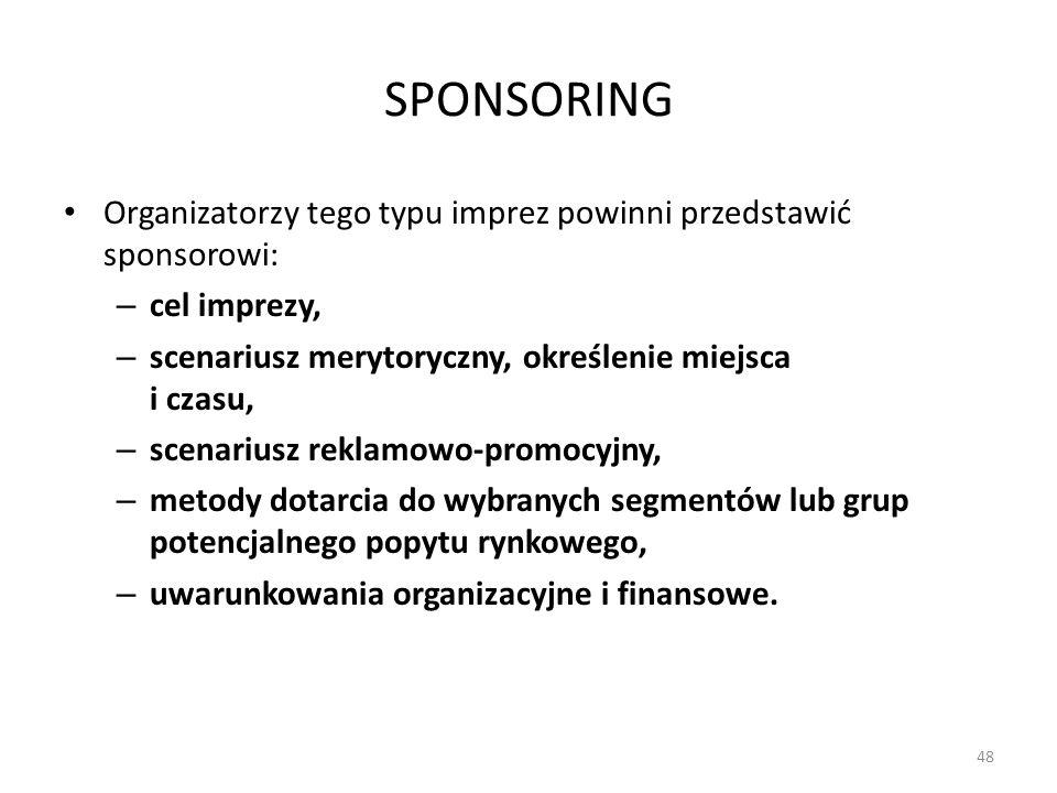 SPONSORING Organizatorzy tego typu imprez powinni przedstawić sponsorowi: cel imprezy, scenariusz merytoryczny, określenie miejsca i czasu,