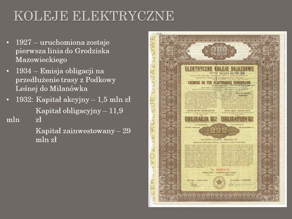 Koleje elektryczne1927 – uruchomiona zostaje pierwsza linia do Grodziska Mazowieckiego.