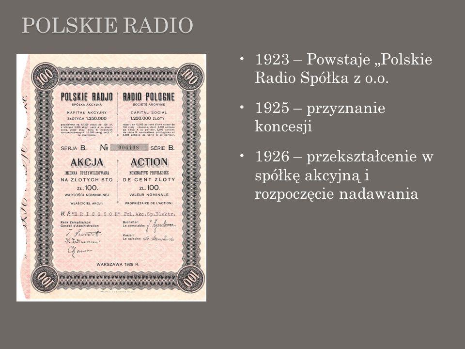 """Polskie radio 1923 – Powstaje """"Polskie Radio Spółka z o.o."""