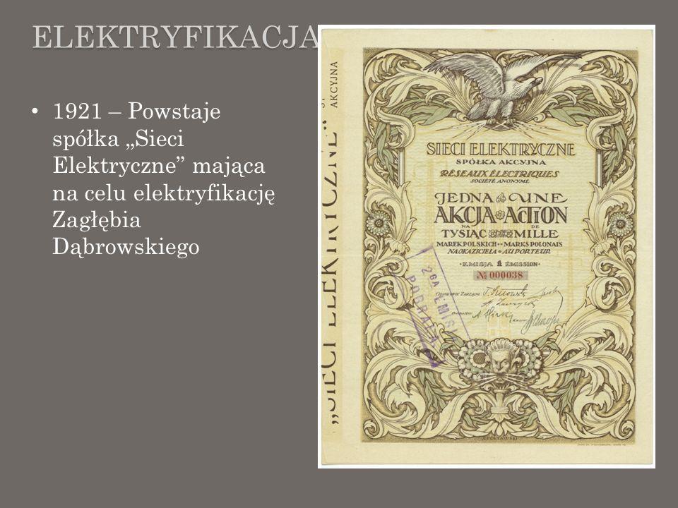 """Elektryfikacja 1921 – Powstaje spółka """"Sieci Elektryczne mająca na celu elektryfikację Zagłębia Dąbrowskiego."""