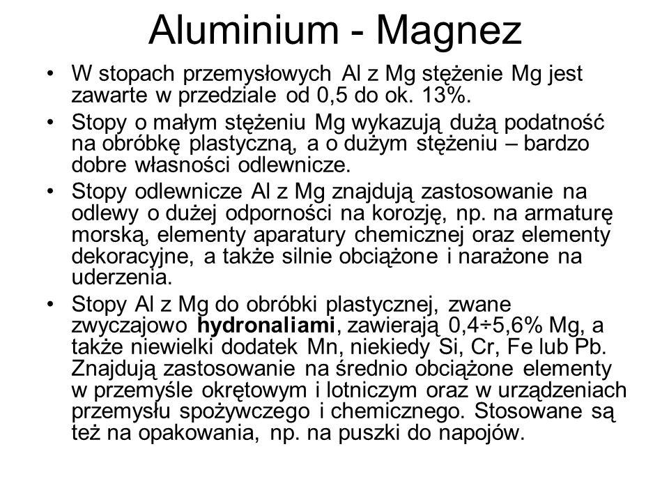 Aluminium - Magnez W stopach przemysłowych Al z Mg stężenie Mg jest zawarte w przedziale od 0,5 do ok. 13%.